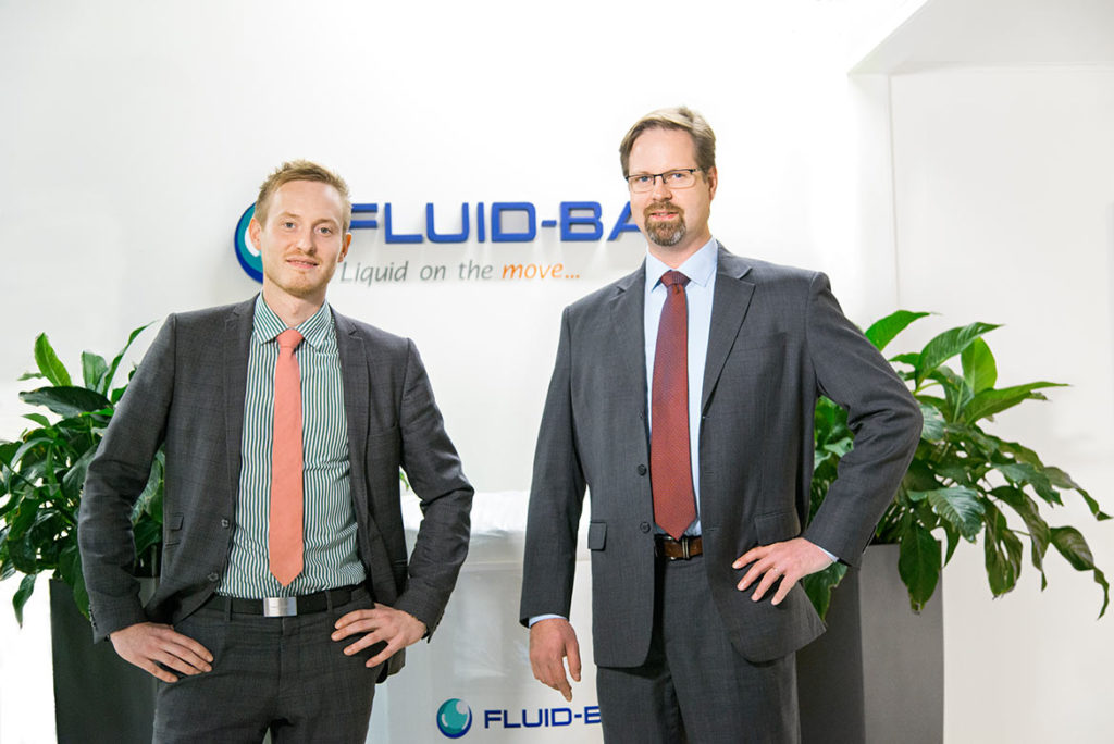 """""""Fluid-Bag works as a closed system which keeps the material safe and clean to the last drop. This saves both money and the environment,"""" say Jan Backman and Filip Lund."""