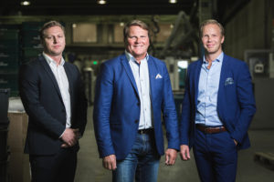 """We are continuously developing our production with ever-increasing  automation,"" says Jens Österberg in the centre. On the left Jan Österberg and on the right Matias Österberg."